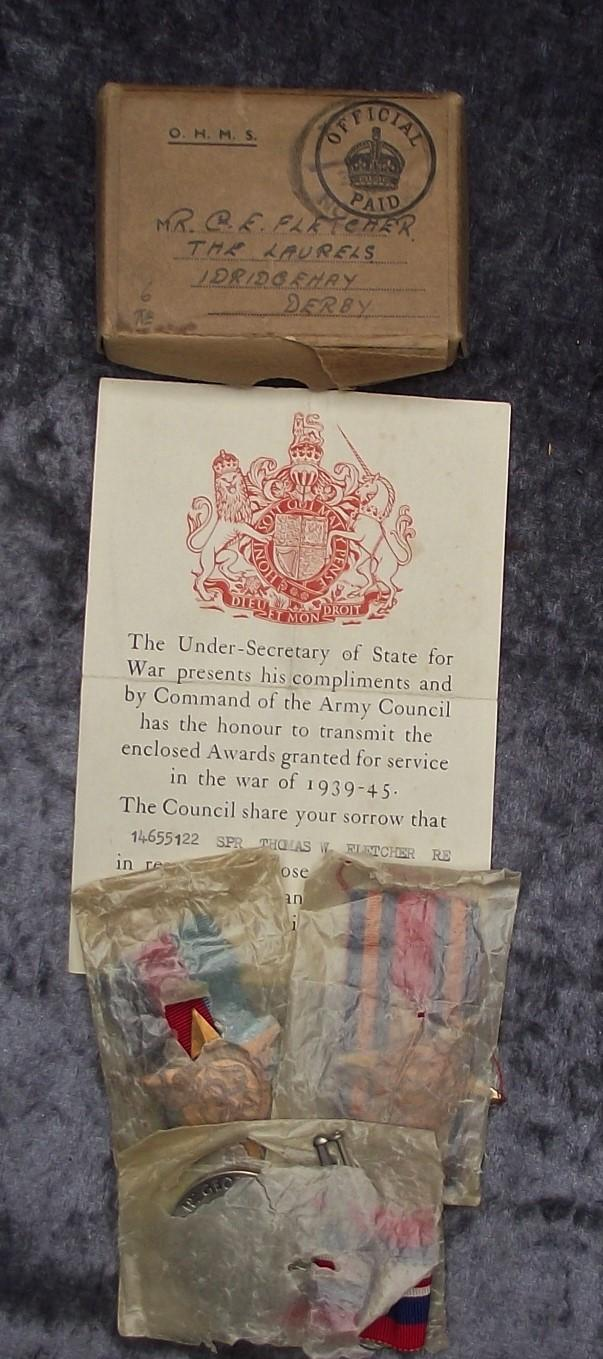 WW2 British Casualty Medal Group, Burma. 29th Movement Control Group, RE.